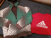 Teen boy sherpa lined hoodie, ADIDAS shirt play condition in Bolingbrook, Illinois