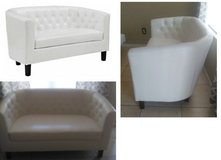 White Faux Leather/Leatherette Tufted Loveseat in Phoenix, Arizona