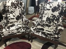 2 New Wing Cowhide Wing Back Chair in Leesville, Louisiana