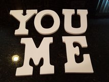 Me You Painted Wooden Letters with brackets in Naperville, Illinois