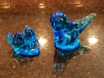 2 Leo Ward Bluebirds of Happiness Paperweights in Sandwich, Illinois
