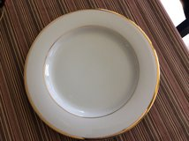 12 dinner plates with gold rim with 2 matching salad plates and 2 mugs in Lockport, Illinois