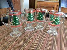 4 glass mugs/ with X'mas tree on both sides,German makers . in Lockport, Illinois