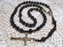 Black Rosary Obsidian Beads Silver Accents Italian Silver Medal and Crucifix Standard Size in Kingwood, Texas