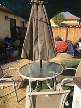 Patio set with big umbrella in Fort Irwin, California
