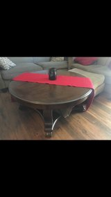 round real wood coffee table in Vista, California