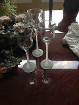PartyLite Set of 3 Iced Crystal Trio Frosted Stem Candle Holders - $10 in Chicago, Illinois