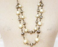 """Silver Tone Multi Strand 30"""" Frosted Bead Necklace Pendant Statement Chain in Kingwood, Texas"""