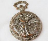 Vintage 1980's Fisherman's Montres Carlo Pocket Watch Silver Tone Hunt Camp Fish Bass in Kingwood, Texas