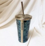 Starbucks Stainless Steel Cup Travel 16 Oz Metal Green Tall Straw Cold Mug in Kingwood, Texas