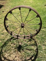 Iron Wagon Wheel used for planting Crops in Fort Bliss, Texas