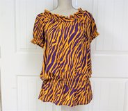 LSU Louisiana State University XL Purple Gold Geaux Tigers Top Blouse NCAA Football Touch Down Mike in Kingwood, Texas