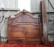 Antique French Massive Wood with Nice Carvings Full Size Bed Frame in Ramstein, Germany