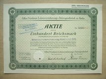 1935 GE Stock Cert. (Allba-Nordstern Lebensversicherungs) in Ramstein, Germany