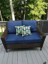 Outdoor patio/deck pillows with pineapple print in Camp Lejeune, North Carolina