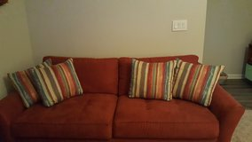 Couch w 2 throw pillows in Fort Campbell, Kentucky