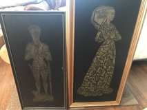 Lady Margaret and Sir Thomas Peyton Framed Brass Rubbings in Baytown, Texas