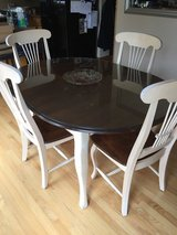 Canadel dining kitchen table chairs glass top solid wood in Schaumburg, Illinois
