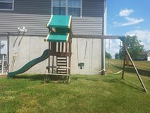 Wooden swing set in Fort Leonard Wood, Missouri