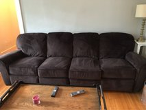microfiber couch with end recliners and matching love seat in Westmont, Illinois
