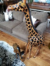Pair of Leather Giraffes Exotic Animal Tribal African Safari Decor in Naperville, Illinois
