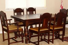 Antique Belgian dining room table 6 chairs in Fort Leonard Wood, Missouri