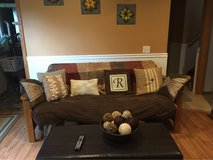 brown suede futon/couch in Naperville, Illinois