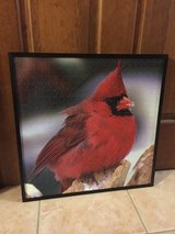 Framed puzzle of a male cardinal in Naperville, Illinois