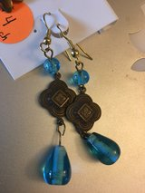 Gold w/Blue dangling earrings in Naperville, Illinois