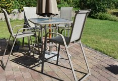 Glass top high patio table and chairs-UMBRELLA NOT INCLUDED in Baumholder, GE
