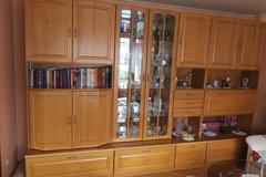 Livingroom cabinet with vitrine from the furniture shop - alder veneered in Spangdahlem, Germany