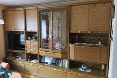 Livingroom Cabinet with vitrine - out of the furniture shop, oak veneered in Spangdahlem, Germany