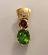 Pendant: Peridot, Rubellite Tourmaline, Diamond in Ansbach, Germany