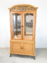 Beautiful Wicker & Metal Accent China Cabinet in Pearland, Texas