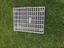 METAL DOG CAGE 3'X3'FOLDS AND HAS PAN FOR BOTTOM FOR HOME OR TRAVEL GOOD SHAPE in Sandwich, Illinois