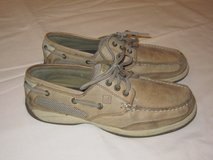 SPERRY TOP SIDER BOAT SHOES Three Eye Women Size 7.5 Tan Color in Plainfield, Illinois