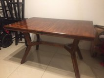 Nice wood table with built in leaf/ 4 bar stools in Okinawa, Japan