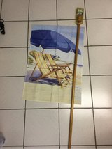 Wooden 5 ft Flag Pole with Beach Flag in Ramstein, Germany