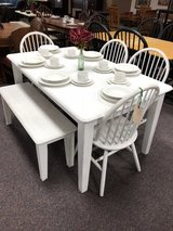 farmhouse table with four chairs and bench in Camp Lejeune, North Carolina
