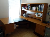L shape wodden wider working office desk w/ book shelf in Chicago, Illinois