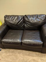 Brown Faux leather loveseat, chair w/ ottoman, 2 end tables in St. Charles, Illinois