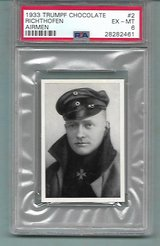 SUPER RARE AUTHENTIC 1933 RED BARON WW1 HERO CHOCOLATE CARD PSA 6 EX-MT in Ramstein, Germany