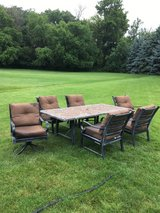SLATE STONE MOSAIC PATIO TABLE AND WEBER GENSIS GRILL 6 CUSHION ARM CHAIRS  2 SWIVEL... in Sugar Grove, Illinois