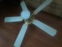 52in 5blade polished  brass ceiling fan w light in Alamogordo, New Mexico