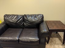 brown faux leather loveseat, chair, ottoman,end tables in Westmont, Illinois