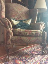 Wing back chair with carved wood ( clawed) feet in Ramstein, Germany