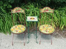 Ceramic Mosaic Patio Chairs & Accent Table / Grapes Wrought Iron in Chicago, Illinois