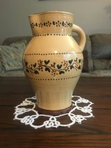 Yellow ware handmade water pitcher stamped in Fort Campbell, Kentucky