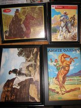 4 Vintage 1950's 60's Framed Cowboy Puzzles in Bolingbrook, Illinois