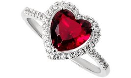 CLEARANCE ***BRAND NEW***RED Heart Cut Halo Ring***SZ 7 in Kingwood, Texas